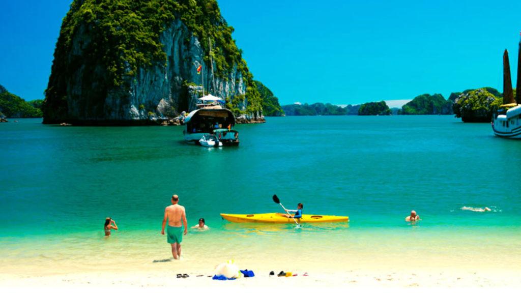 Swimming and Kayaking at ba Trai Dao Beach
