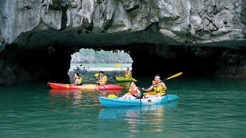Kayaking at Dark and Bright Caves in Lan Ha Bay