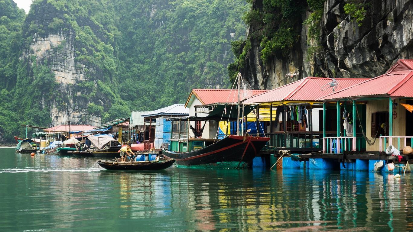Cua Van Fishing Village in Ha Long Bay Vietnam