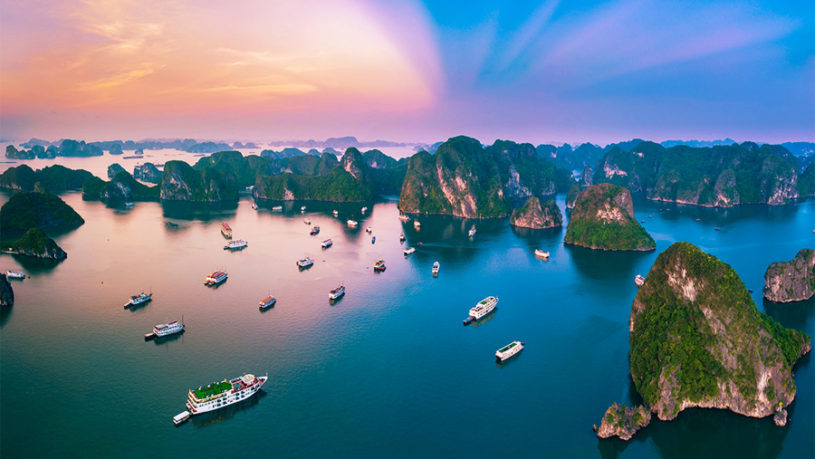 Sunrise in Halong Bay Vietnam