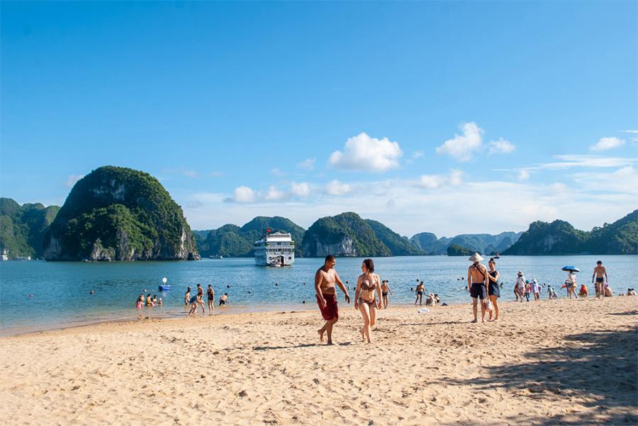 Swimming on Ti Top Beach in Halong Bay